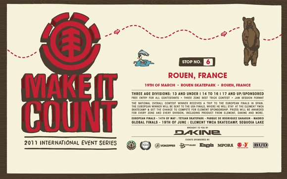 ELEMENT Make It Count contest Skatepark de Rouen samedi 19 mars 2011