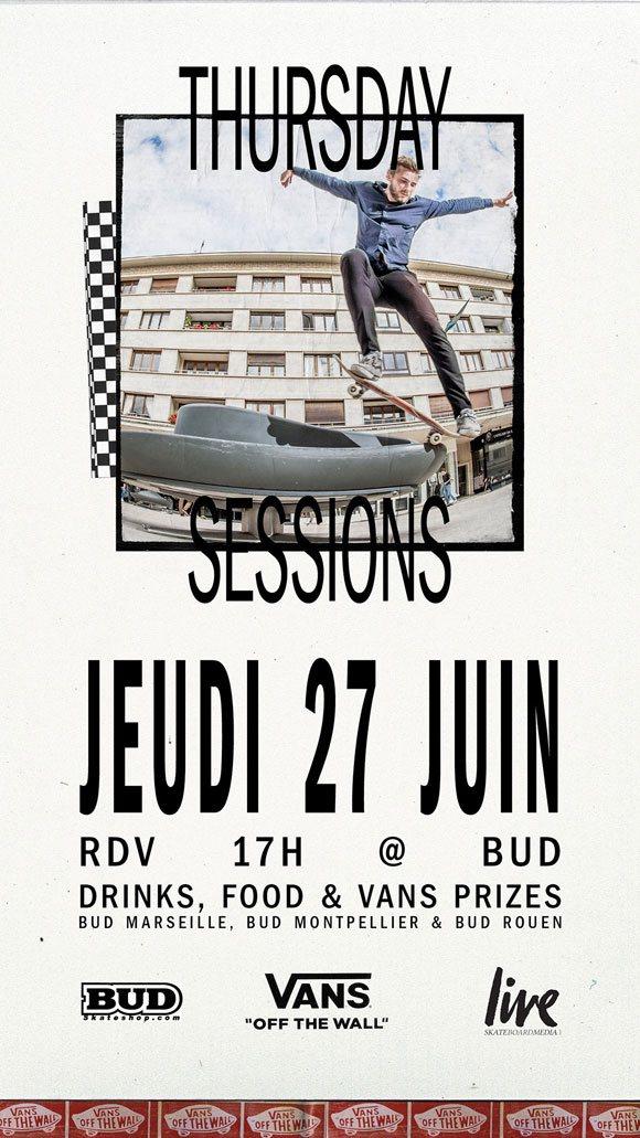 vans thursday sessions à carcassonne, marseille, et rouen