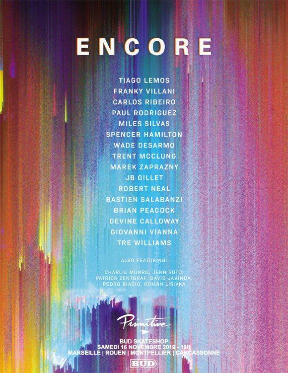 PRIMITIVE SKATEBOARDING avant-première vidéo Encore BUD SKATESHOP Marseille, Rouen, Montpellier, Carcassonne samedi 16 novembre 2019 19H