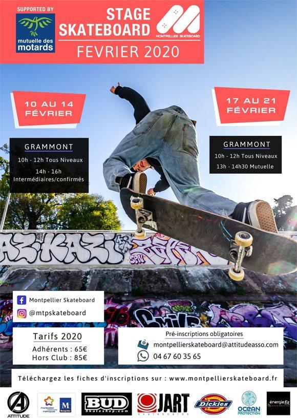 Montpellier Skateboard School stages vacances de février 2020