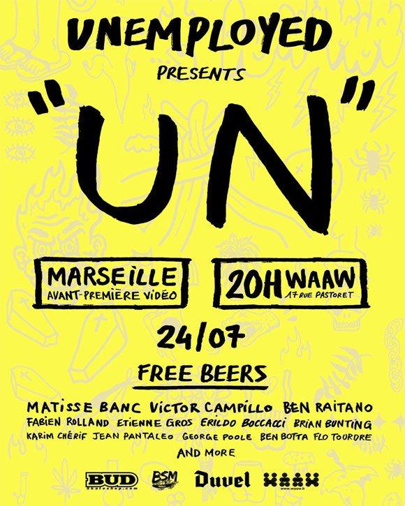 UNEMPLOYED SKATE CO avant-première vidéo Un Waaw Marseille vendredi 24 juillet 2020