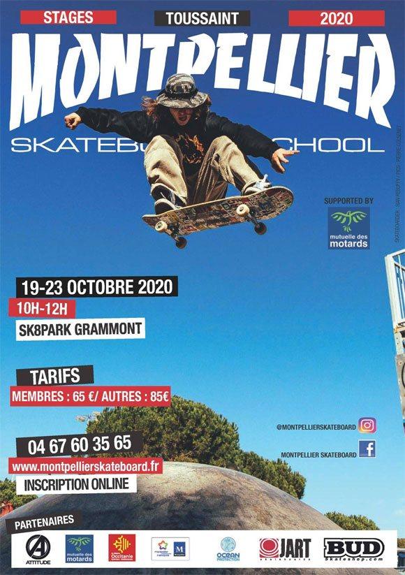 Montpellier Skateboard School stages vacances Toussaint 2020
