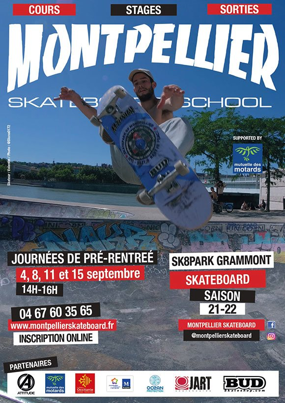 Montpellier Skateboard School cours de skate, stages, sorties saison 2021/2022